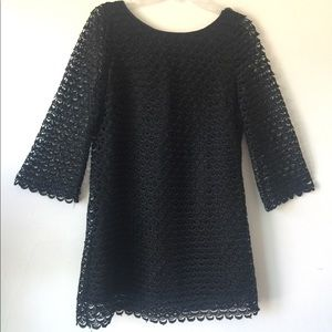 Stunning lined crochet mini dress w flared sleeves